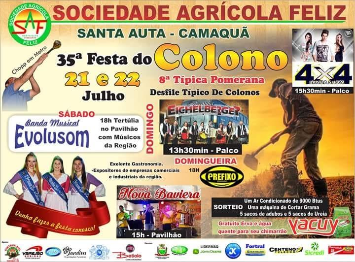 82110a63e94db Vem aí a 35ª Festa do Colono e a 8ª Típica Pomerana na Santa Auta, interior  de Camaquã (RS). O evento ocorre nos dias 21 e 22 de julho (sábado e domingo),  ...